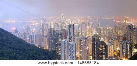 Hong Kong at night panorama. Business center.