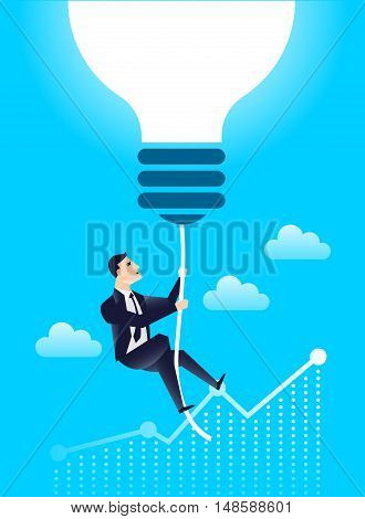 business leader finance manager with  lightbulb idea, against the background of the chart of income