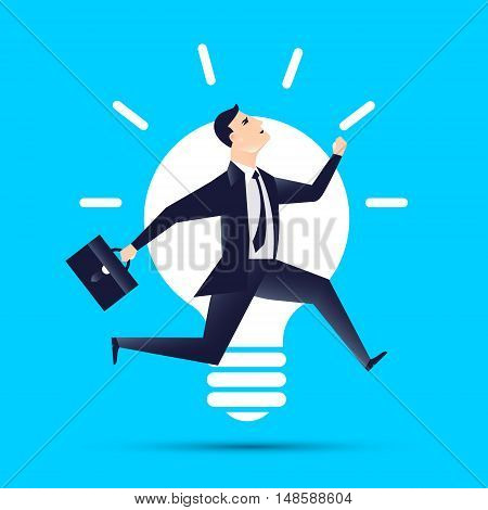 businessman runnind with lightbulb idea business concept.