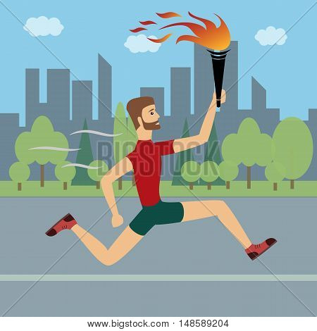 Athlete running with a torch in his hand on the background of the urban landscape.