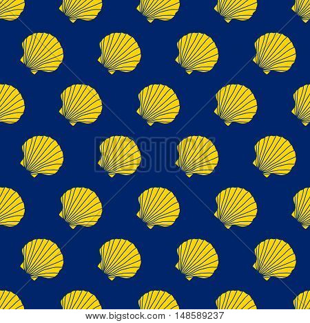 Yellow scallop shells on the blue background. Camino de Santiago sign. Seamless pattern. Pilgrim's navigation sign. Symbol of the Camino de Santiago in Spain.
