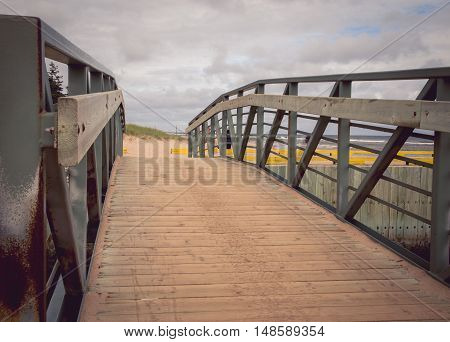 Bridge to the singing sands beach in Prince Edward Island