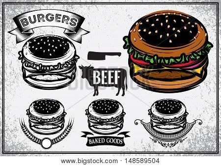 Retro poster with set of logo labels stickers and logotype elements for fast food restaurant cafe hamburger and burger. Vector illustration.