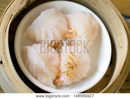 Chinese food , dumplings with prown ready for serving