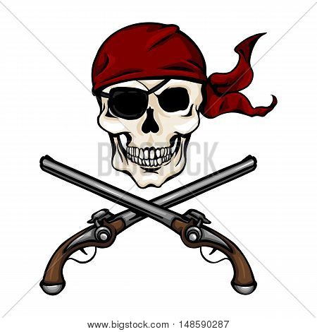 Vector Cartoon Pirate Skull In Red Bandana With Cross Pistols