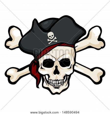 Vector Cartoon Pirate Skull In Tricorn With Cross Bones
