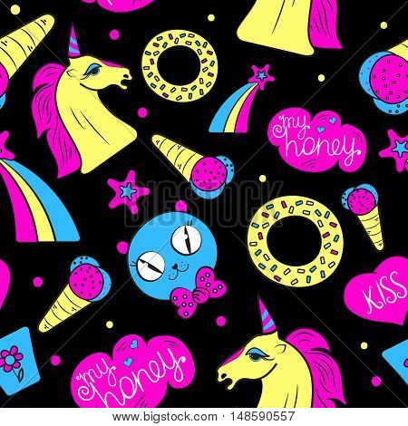 Vector seamless kids pin patch pattern with unicorn ice cream a donut a cat donut rainbow star on black background. Abstract fun baby pop art hand-drawn pattern for little girl.