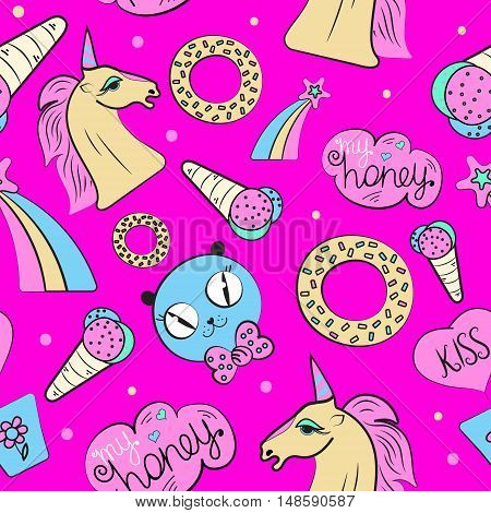 Vector seamless baby pink pin patch pattern with unicorn ice cream a donut a cat a rainbow a star on bright pink background. Abstract funny baby pop art hand-drawn pattern for little girl.