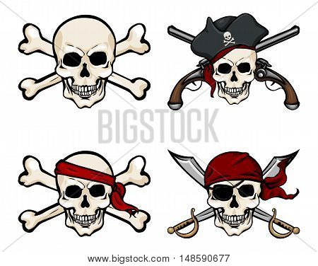 Vector Set Of Different Cartoon Pirate Skulls