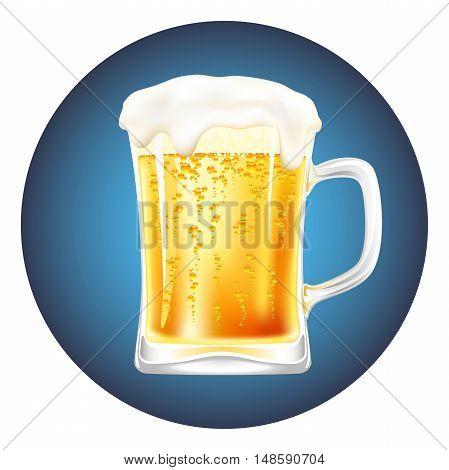beer mug vector on a blue background