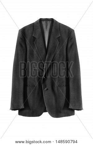 Classic black wool jacket on white background
