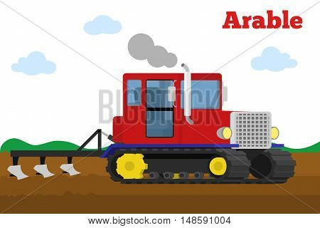 Vector illustration of a agricultural crawler tractor with plow tillage a field. Equipment for agriculture. Arable stage.