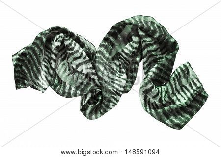 Crumpled silk green scarf isolated over white