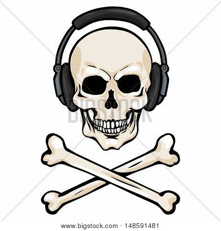 Vector Cartoon Skull With Headphones And Cross Bones