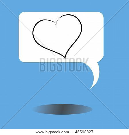 message icon with heart and shadow isolated on blue background