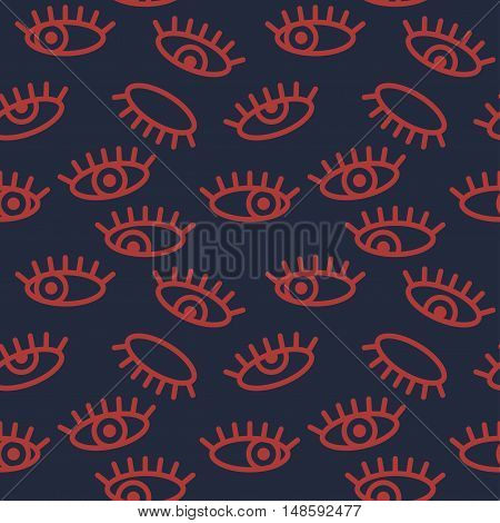 Abstract minimalistic eye vector seamless pattern. Graphic design element for vision eyesight concept with open and closed eyes. Perfect for background backdrop fabric wallpaper