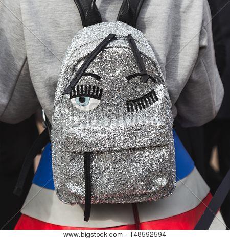 Detail Of Backpack During Milan Fashion Week