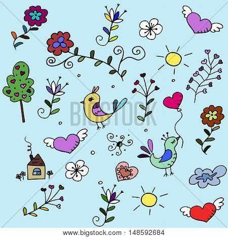 pattern with hearts, birds and flowers for fabrick or babyroom
