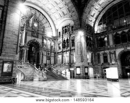 ANTWERP, BELGIUM - 10 SEPT. 2016: Interior of the main hall of the Main Railway Station in Antwerp, Belgium. It is considered one of the most beautiful in Europe.