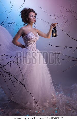 Bride Walking Whit A Lamp In Her Dream