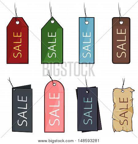 Vector Set Of Cartoon Color Sale Tags
