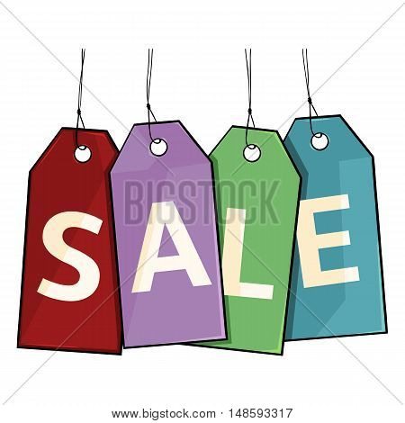 Vector Cartoon Sales Tags With Letters S, A, L, E.