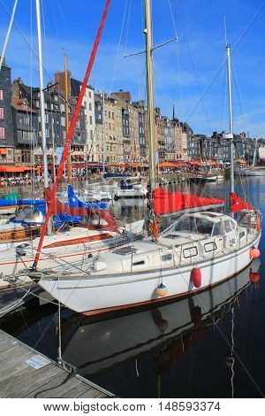 Old harbour of Honfleur,  the French  Norman town