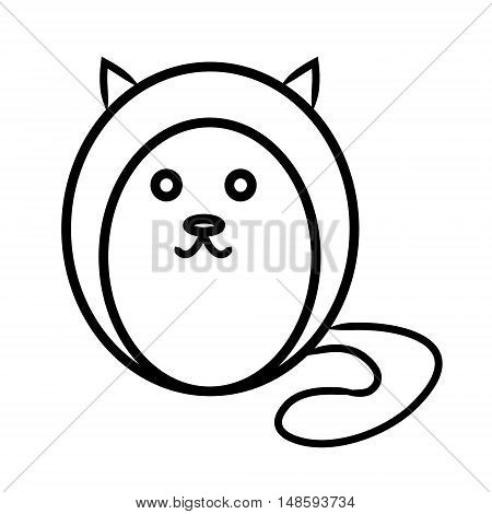 Round cat contour on a white background vector illustration