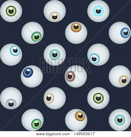 Abstract minimalistic eye vector seamless pattern. Graphic design element for vision eyesight concept with realistic eyes on black. Perfect for background backdrop paper wrapping