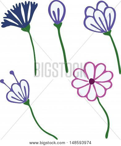 Flowers drawn in kid style outline for coloring or other needs