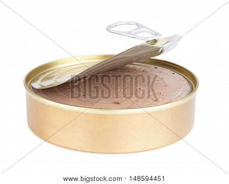 open tin can with paste on a white background. Canned food of industrial production