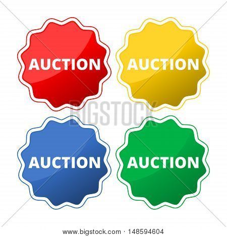 Set of 4 colorful auction icons set on white background