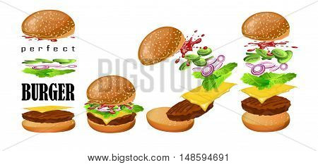 Burger floating scheme: fresh tasty grilled beef cutlet slice cheddar cheesel eaf lettuce cucumber onion tomato sauce ketchup sesame bun. Vector vertical closeup perfect illustration white background.
