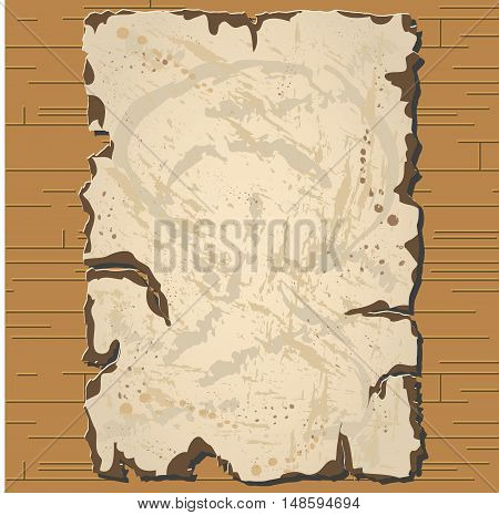 Vector old parchament with brown background with format eps10.