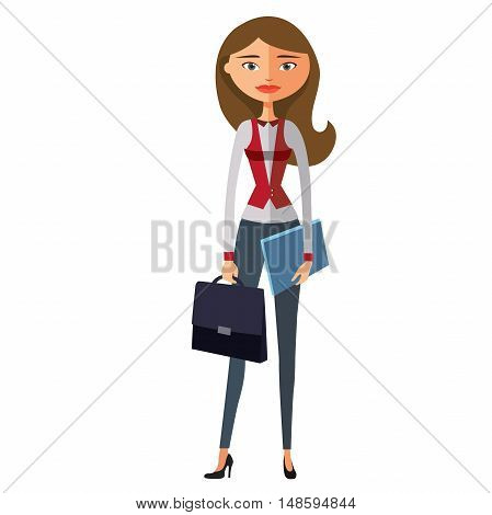 Business-woman ready for work.Vector. Glamorous young girl with cup. Smiling business woman holding cup.Vector.