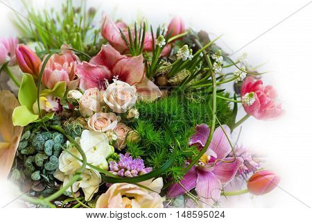 Flower holiday decoration, beautiful peony blooming bouquet
