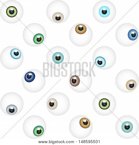 Abstract minimalistic eye vector seamless pattern. Graphic design element for vision eyesight concept with realistic eyes. Perfect for background backdrop fabric wallpaper cover with pattern