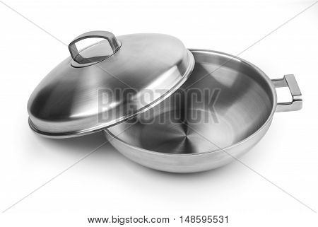 Open stainless steel cooking pot isolated on white with clipping path