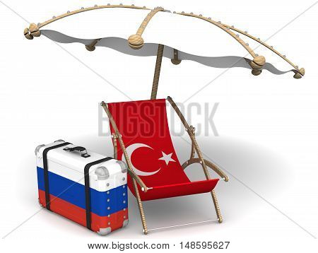 Russian tourists in Turkey.  Sunbed with a flag of Turkey a suitcase with the flag of the Russian Federation and a beach umbrella on the white surface. The concept of vacation of Russians in Turkey. Isolated. 3D Illustration