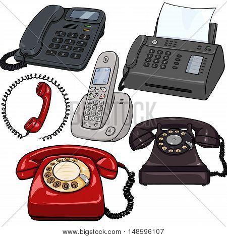 Vector Set Of Cartoon Telephones