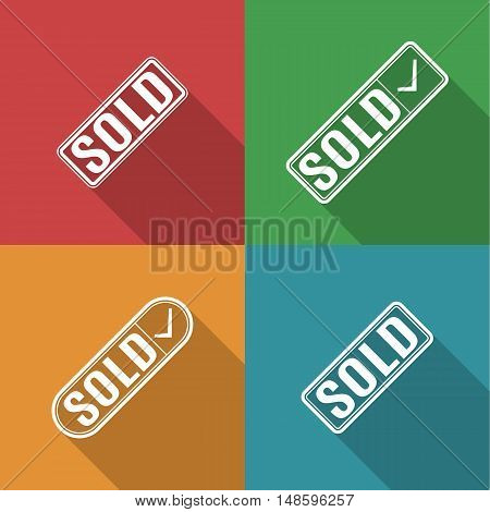 Set of four square multicolored icons sold a long diagonal shadow vector illustration.