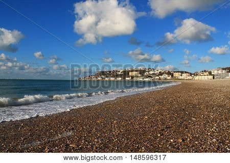 Beach of Le Havre, urban French commune and city in the Seine-Maritime department in the Normandy region of northwestern France