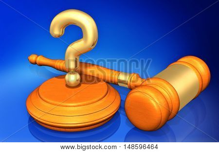 Question Legal Gavel Concept 3D Illustration