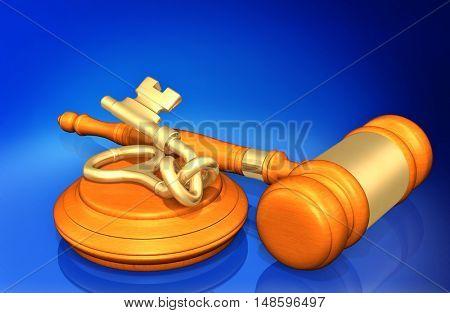 Knotted Key Legal Gavel Concept 3D Illustration