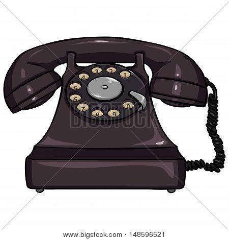 Vector Single Cartoon Retro Rotary Telephone