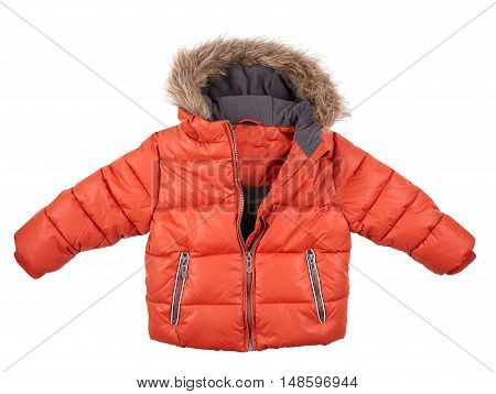 warm down jacket children's red jacket isolated on white