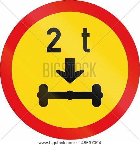 Temporary Road Sign Used In The African Country Of Botswana - Vehicles Exceeding 2 Tonnes On A Singl