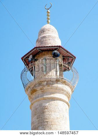 Top of the minaret of Al-siksik mosque in old city Jaffa Israel