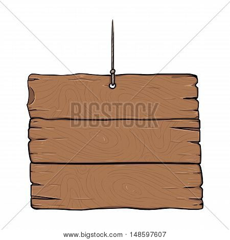 Vector Single Cartoon Wooden Signboard
