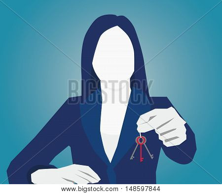 businesswomen holding key Vector Flat design. concept business illustration